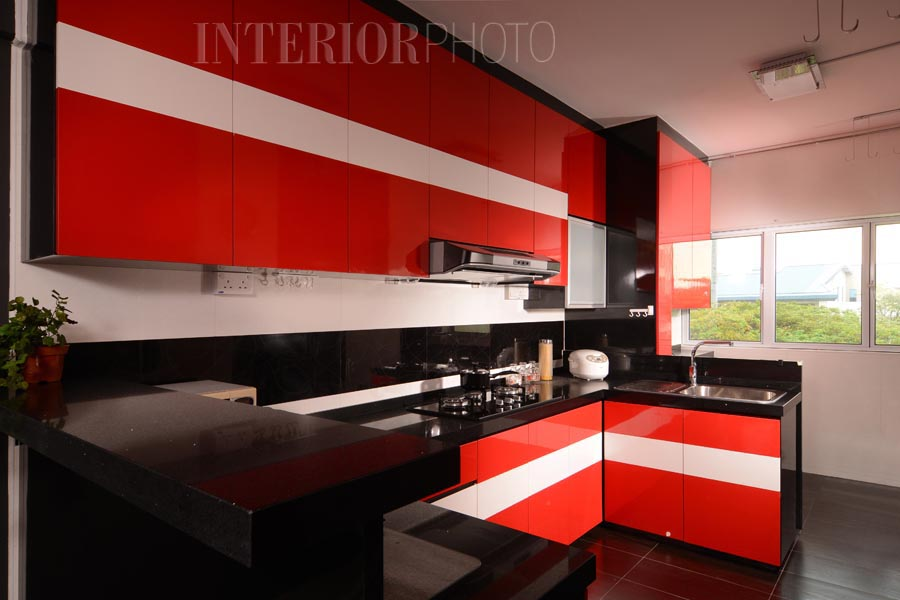 Black white and red kitchen designs for Black and red kitchen designs
