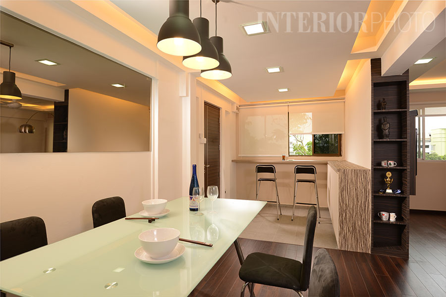 Simei 5 room flat interiorphoto professional for Dining room entrance designs
